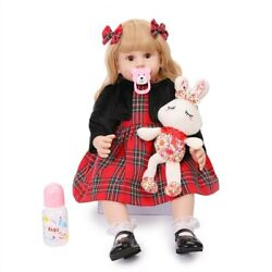 New Christmas Gifts For Children Elegant Baby Dolls Soft Vinyl Red Cloth Silicon