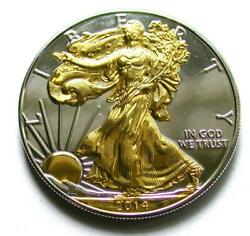 2014 American Silver Eagle 1oz Silver Coin With 24k Gold Gilded, Proof Like