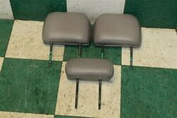 01-07 Sequoia Gray 2nd Middle Row Leather Rear Back Seat Headrest 3 Piece Set Oe