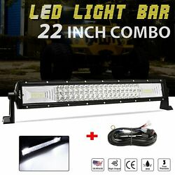 24 Inch Led Work Light Bar Tri-row Combo Lamp Truck Suv Boat 22 + Wire
