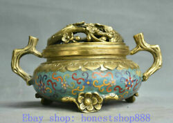 10.8 Old Chinese Cloisonnandeacute Copper Dynasty Palace Plum Flower Incense Burner