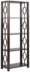 Etagere Oval Fretwork Hand-rubbed Chocolate Dark Brown Acacia Wood 4-s