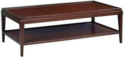 Cocktail Table Sleek Lipped Top Hand-rubbed Chocolate Brown Acacia Wood Shelf