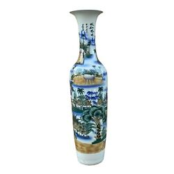 Chinese Oriental Large White Porcelain Colorful Scenery Floor Vase Ws928