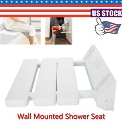 For Home Spa Sauna Room Use Foldable Wall Mounted Drop-leaf Shower Seat White