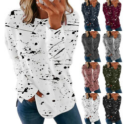 Women Long Sleeve Crew Neck T Shirt Casual Graffiti Print Blouse Loose Tunic Top $13.99