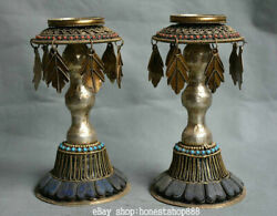 8 Old Tibet Red Coral Turquoise Bronze Religion Candle Holder Candlestick Pair