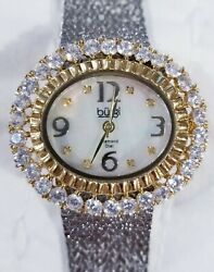 Burgi Watch  Bur075ssg Silvertone Oval Opalescent Face Signed Stainless
