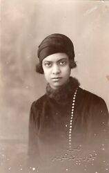 Egypt Vintage Photo. Cute Lady With Scarf. Khedivial Photo Studio Papazoghlou