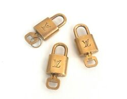 Authentic Louis Vuitton Gold Lock And Key Padlock 9 Sets From Afar Vintage Japan