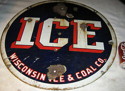 Antique Patriotic American Wisconsin Ice And Coal Co. Porcelain Art Sign Tool Usa