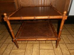 Vintage Baker Furniture Faux Bamboo Cane Accent End Side Table