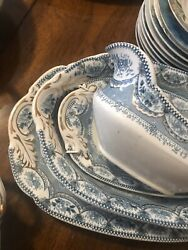Henry Alcock And Co Antique China Serving Dishes Blue Venetian 6 Pieces 1890's