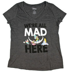 Disney Women#x27;s Alice In Wonderland We#x27;re All Mad Here Plus Size T Shirt $14.95