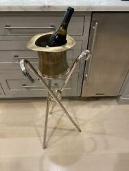 1980s Vintage Godinger Heavy Silver Plated Top Hat And Canes Champagne Bucket