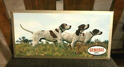 Super Genesee Beer Hunting Dog Metal Sign Tin Over Cardboard Toc Rochester Ny