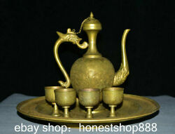 Chinese Dynasty Old Antique Copper Gild Dragon Handle Flagon Wine Cup Full Set