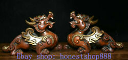 10 Old Red Copper Gold Gilt Feng Shui Pixiu Fly Beast Wealth Luck Statue Pair