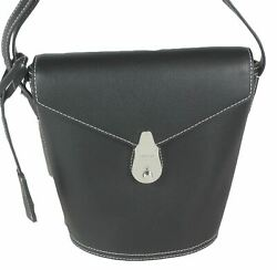 Calvin Klein Lock Leather Mini Bucket Bag Black Silver $79.99