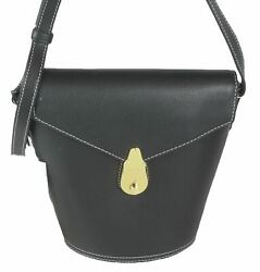 Calvin Klein Lock Leather Mini Bucket Bag Black Gold $79.99