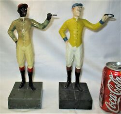 Antique Derby Equestrian Horse Hitching Post Jockey Racing Art Statue Bookends