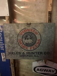 Pioneer Dairy Feeds Sign Extremely Rare Fold Out Station Farm Sign