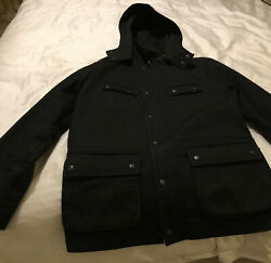 Mens Jack Wills Lined Coat With Detachable Hood Black Size Large