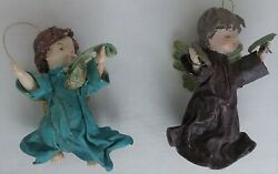 Vintage Lot Of 2 Christmas Angel Ornaments Paper Mache Turquois And Eggplant