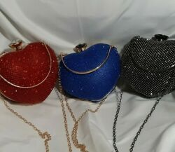 Heart Shaped Red Blue Black Rhinestone Evening Clutch Party Bags $29.90