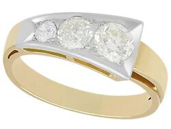 Vintage 0.87 Ct Diamond And 14carat Yellow Gold Dress Ring 1940and039s