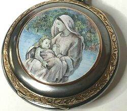 Huge Pocket Watch With Enamel Of Virgin Mary Holding The Child Jesus Christ