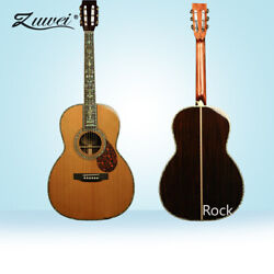 Acoustic Guitar Hardcase Ebony Fretboard Red Spruce Top Real Abalone Inlay