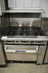 36 Gas Range 6 Open Flame Burner And Standard Oven Stainless Imperial Ir-6