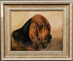 19th Century English Portrait Of A Bloodhound Dog By Frederick French
