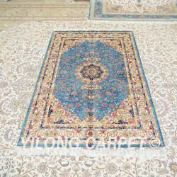 Yilong 4'x6' Blue Hand Knotted Silk Carpet Interior Flooring Area Rug Z467a