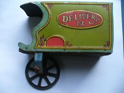 Vintage Delivery Truck Toy With Wooden Bottom