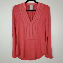 Dolan Xs Anthro Pumpkin Colored Long Sleeve V-neck Blouse W/pleated Front