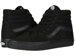 Vans SK8 HI Mens Womens All Black Canvas Lace Up High Top Skateboard Shoes