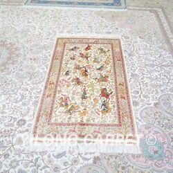 Yilong 3'x5' Hunting Scene Tapestry Handwoven Silk Carpet Home Area Rug Z464a