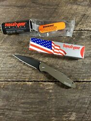 Discontinued Kershaw Leek Olive Drab Green with black blade Speedsafe flipper