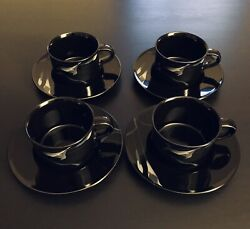Set Of 4 Mikasa Opus Black Calla Lily Coffee Cup/ Mug And Saucers Galleria Fk701