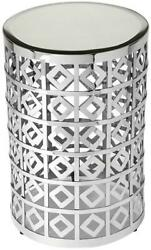 Accent Table Contemporary Antique Nickel Distressed Beveled Mirror Sta