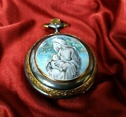 Swiss Pocket Watch With Enamel Of Virgin Mary Holding The Child Jesus Christ