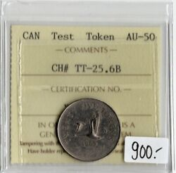 Canada 1965 25 Cents Test Token Iccs Certified Au-50 Nickel Reeded Rare Tt-25.6b