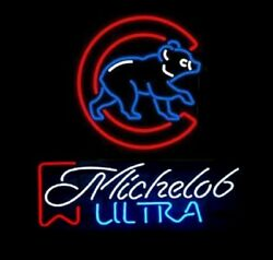 New Michelob Ultra Chicago Cubs Beer Bar Light Lamp Neon Sign 24x20 Decor