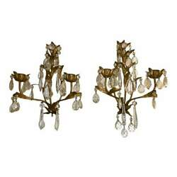 Crystal And Painted Gold Leaf Candle Sconces - 2 Arm - A Pair