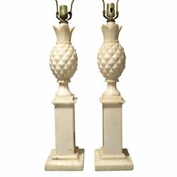 1950's Italian Alabaster Pineapple Table Lamps - A Pair