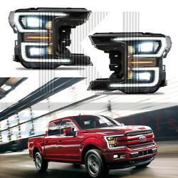 Black Drl/signal Led Tube Dual Projector Headlights Set For 2018-2020 Ford F150