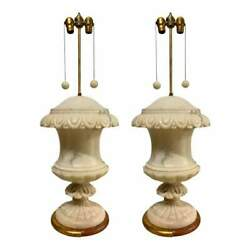 1940's Italian Large White Marble Urn Table Lamps