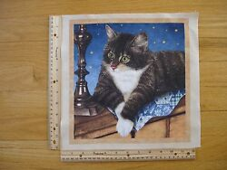 Green Eyed Cat Black Brown and White Cotton Quilt Fabric Block 11 1 2quot; x 11quot;